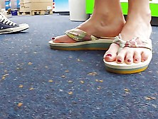 Public Solo Naked Feet In Flip Flops