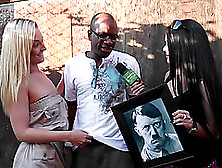 Adolf hitler painting destroyed by big black cock