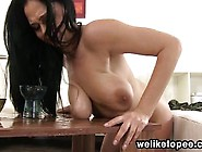 Big Boobed Babe Pissing