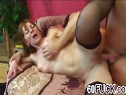 Slim 60Yo Granny In Black Stockings Gets Pussy Filled With Large