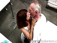 Young Redhead Takes Her Uniform Off To Seduces Her Old Boss