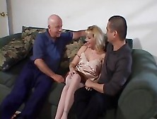 Hot Blonde With Stockings And High Heels Banged On Couch