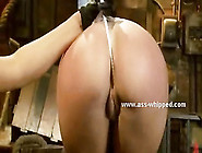 Brunette Mistress With Big Tits Spanking Her Lesbian Sex Slave W
