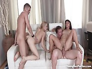 Sexy Teen Babes Spreads Their Legs And Rides Cocks In Group Sex