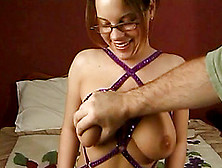 A Cute Girl With Glasses Gives A Guy A Fantastic Blowjob