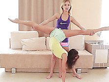 Cute Skinny Extreme Flexible Girlfriend Gymnasts Stretching And