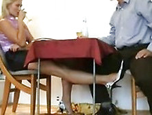Mature Blond Slut Rubbing Small Dick With Her Feet