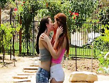 Two Tight Teens Ava Sparxxx N Veronika Licking In The Garden