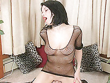 Chick In Lipstick And Fishnets Rides The Sybian To Cum