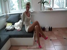 Gorgeous German Babe Tamia In Sexy Dress Trying On Her Amazing F