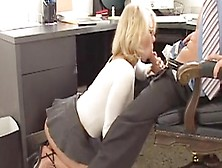 Nerd With Glasses Giving Boss A Blowjob
