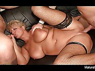 Fat Mature Blonde Is About To Do It With Two Guys At The Same Ti