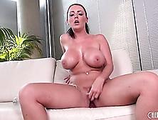 Big Boobied Brunette Sophie Dee Titillates Her Twat With Her Fav