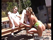 Lesbian Babe Dildos Her Girlfriends Shaved Twat Outdoors