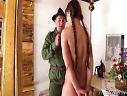Teen Strips For A Soldier And Sucks His Dick
