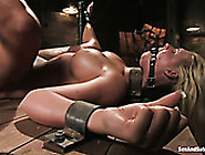 Restrained Busty Chick With Ball Gag In Her Mouth Hole Gets Her