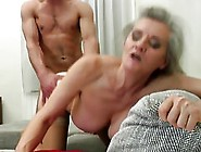 A Young Boy Is Fucking An Old Granny From Behind While She Is Mo