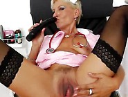 Blondie Mama Pleasuring Inside Addition To The Gyn-Tool