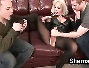 Horny Shemale Dominating Two Guys