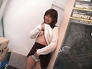 Short Haired Kinky Japanese Gal Flashes Tits A Bit And Sucks Dic