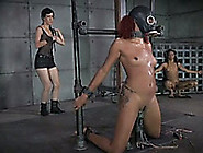 Ebony Girl With Dyed Hair Standing On Her Knees Is Punished