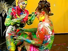 Girls Make A Mess Painting Each Other And Playing Around
