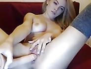 Nice Girl With Creamy Pussy And With Big Dildo.