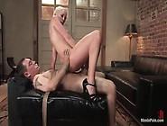 Busty Blonde Mistress Lorelei Lee Fucks Her Tied Slave With A St