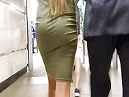 Slim Blonde S Ass In Tight Dress