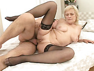 Nasty Granny In Stockings Nailed Deep In Her Cunt In Sideways Po