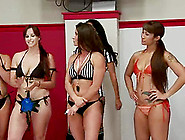 Naught Girls In Bikini Wrestle In A Ring And Lick Pussies
