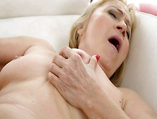A Granny That Loves Cock Is Getting Cum On Her Saggy Tits Here