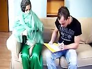 Beautiful Arab Girl Having Sex On Sofa Wearing White Thong