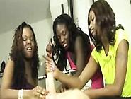 Three Ebony Babes Team Tug And Tease A Big White Cock