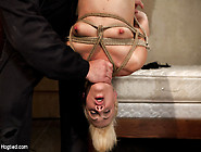 Tall Long Legged Blond Is Hung Upside Down,  Made To Cumchoked,  C