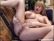 Blonde Pregnant Toys Herself