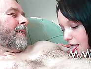 An Older Guy Is Eager To Fuck A Young Brunette,  As Soon As He Li