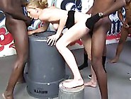 Blonde Babe Allie James Fucked In Interracial Gangbang