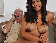 Big Tits Ebony Chick Gives Blowjob And Banged Hard By Hunky Old