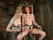 Pussy And Nipple Torture In Lesbian Bondage Session For Redhead