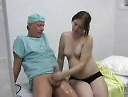 Preggo Girl Gives Doctor A Handjob