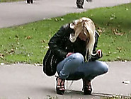 Sweetheart In Russia Squats And Pisses Without Taking Off Her Je