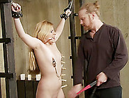 Blonde Bimbo Moans In Pleasure While Tied Up In A Bdsm Session
