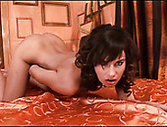 Luscious Brunette Babe Eating Her Delicious Shaved Pussy