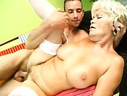 Blonde Granny With Big Tits Gets Licked And Poked By A Young Dud