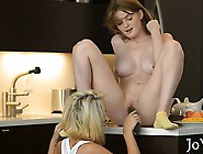 Appealing Lesbian Teens Practice Fingering And Licking