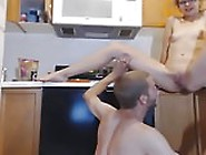 Amateur Guy Gets Hot Licking Girlfriend In The Kitchen