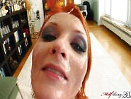 Red-Headed Milf In A Black Body Stocking Gets Her Face Creamed