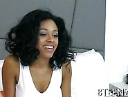 Stunner Ebony With Plump Natural Tits Riding A White Boy