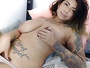 Big Girl With Huge Tits And Tattoo Masturbating On Hotdivine